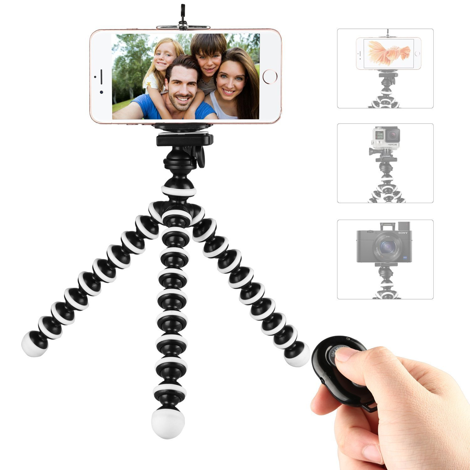 Phone Tripod,Portable and Flexible Adjustable Cell Phone Stand Holder with Remote and Universal Clip Compatible with iPhone Android Phone Compact Digital Camera Sports Camera GoPro by WAAO