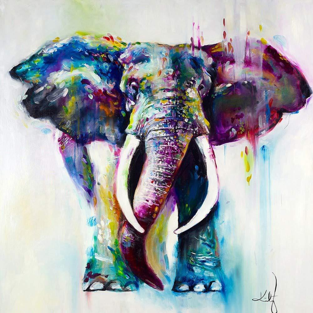 Ölgemälde Auf Leinwand Handgemalt,Abstrakte Tier Gemälde, Bunte Elefant , Vintage Orientalisch Modern Retro Kunst Für Erwachsene Wohnzimmer Schlafzimmer Home Office Wand Dekoration, 80 X 80 Cm