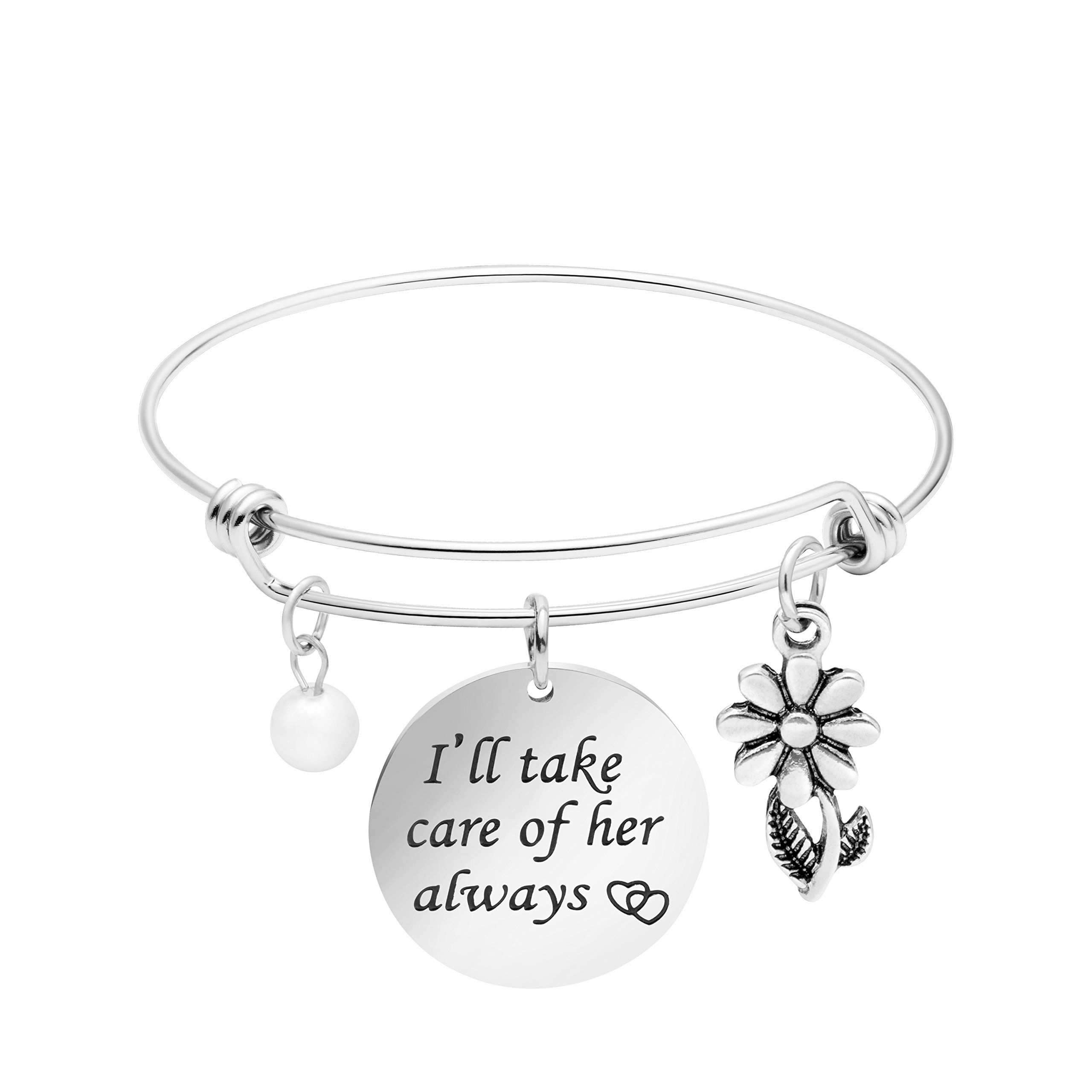 Yiyang Mother in Law Bracelet Bride Gift for Her I'll take care of her always Expandable Bangle Jewelry