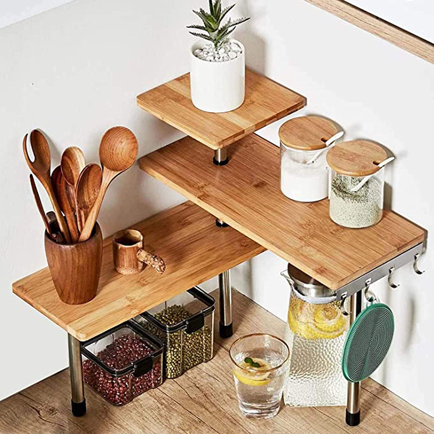 HYNAWIN 3 Tier Corner Shelf Bamboo & Metal Storage Spice Rack-Desk Bookshelf Display Shelves Space Saving Organizer -Adjustable Rack for Kitchen,Bedroom, Office-Creative Home Décor with Hooks: Furniture & Decor