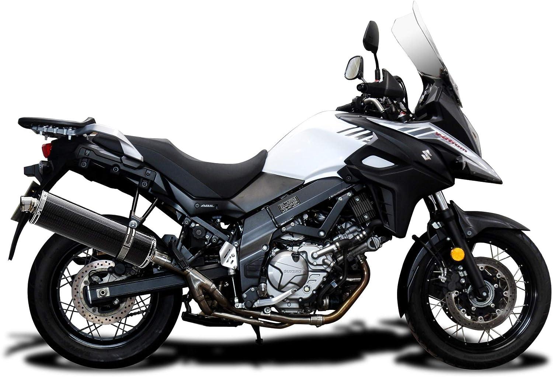 Delkevic Aftermarket Slip On compatible with Suzuki DL650 V-Strom 18 Carbon Fiber Oval Muffler Exhaust 17-18