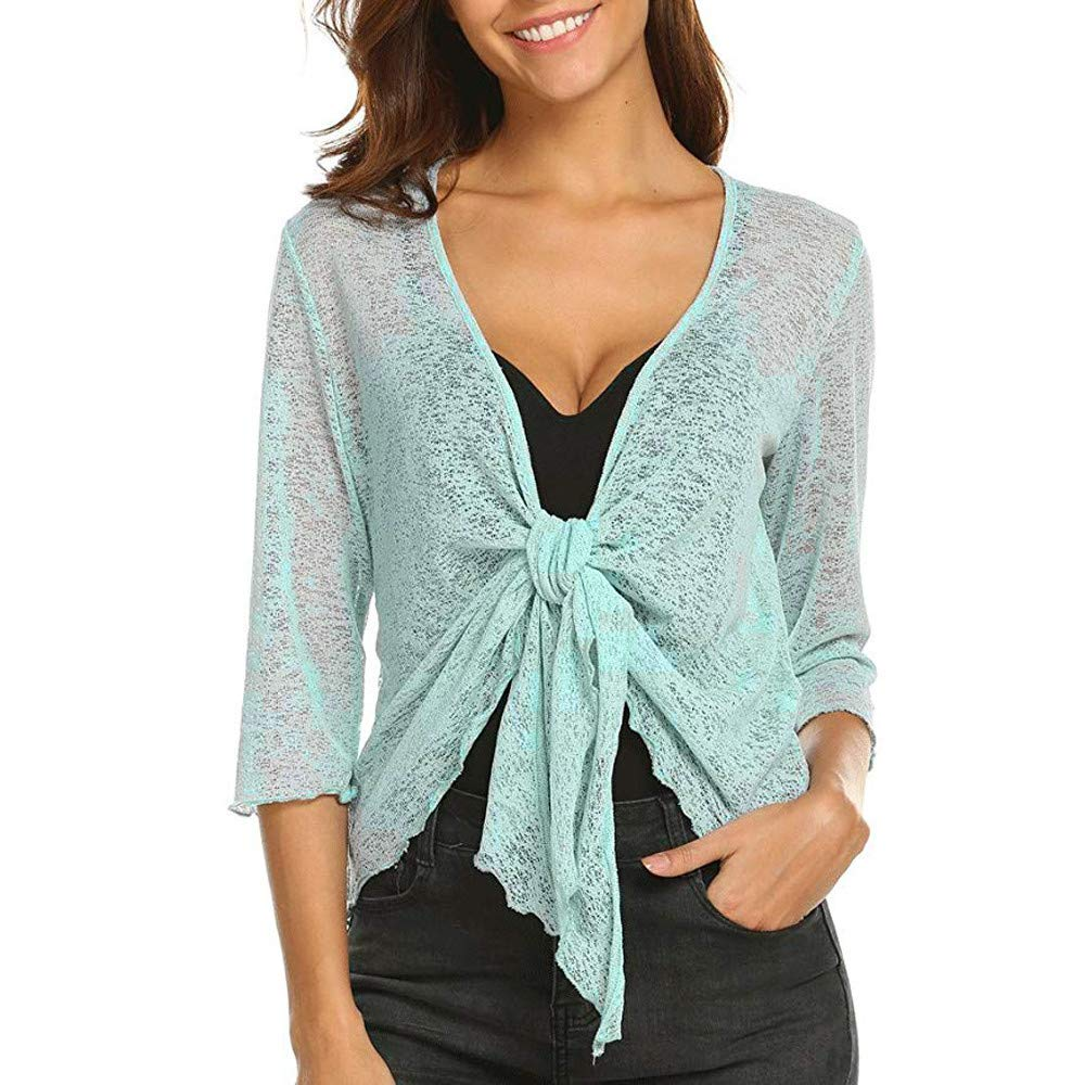 NUWFOR Cardigan Womens Sheer Shrug Tie Top Coat Lightweight Knit ?Green,XL?