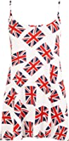 WearAll Women's Union Jack Flag Print Strappy Swing Flared Top Vest 12-30