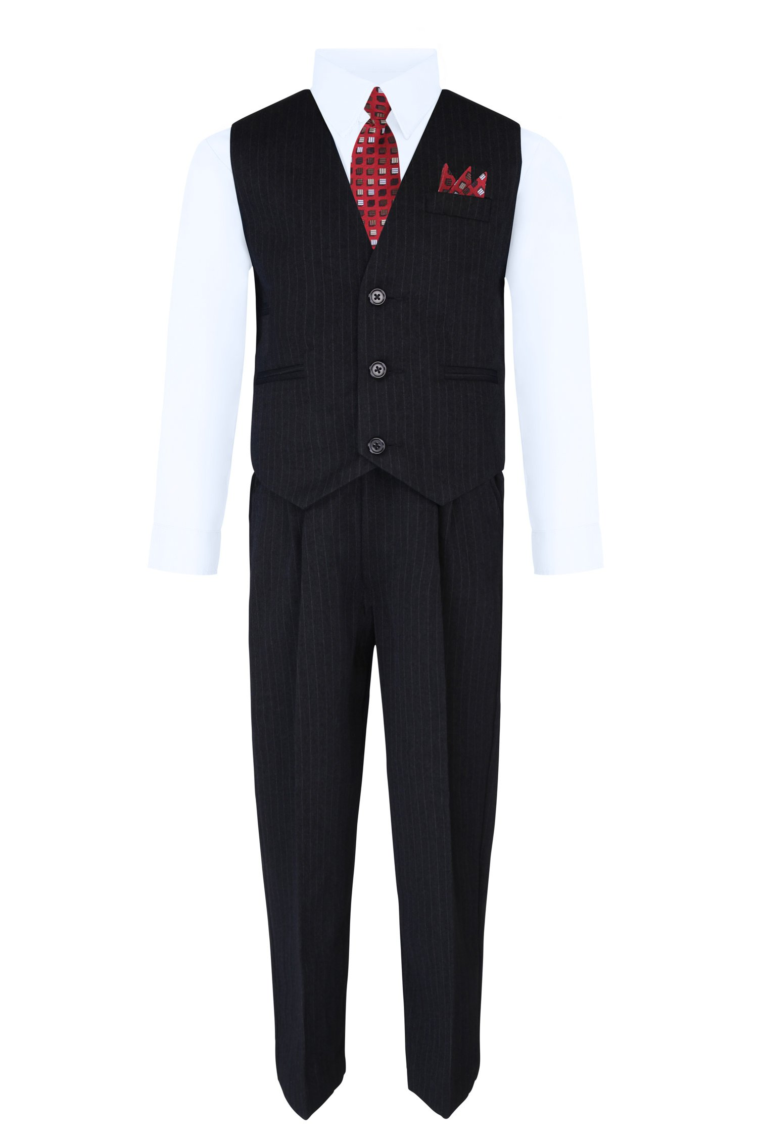 S.H. Churchill & Co. Boy's Vest and Pant Set, Includes Shirt, Tie and Hanky -  Black/White, 8