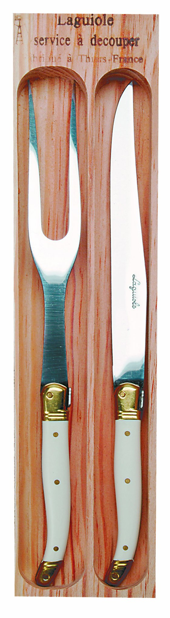 Jean Dubost Carving Knives and Fork Set Ivory in Box