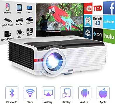Video Projector WiFi Wireless 4200 Luminous LED LCD Dispaly Max 200