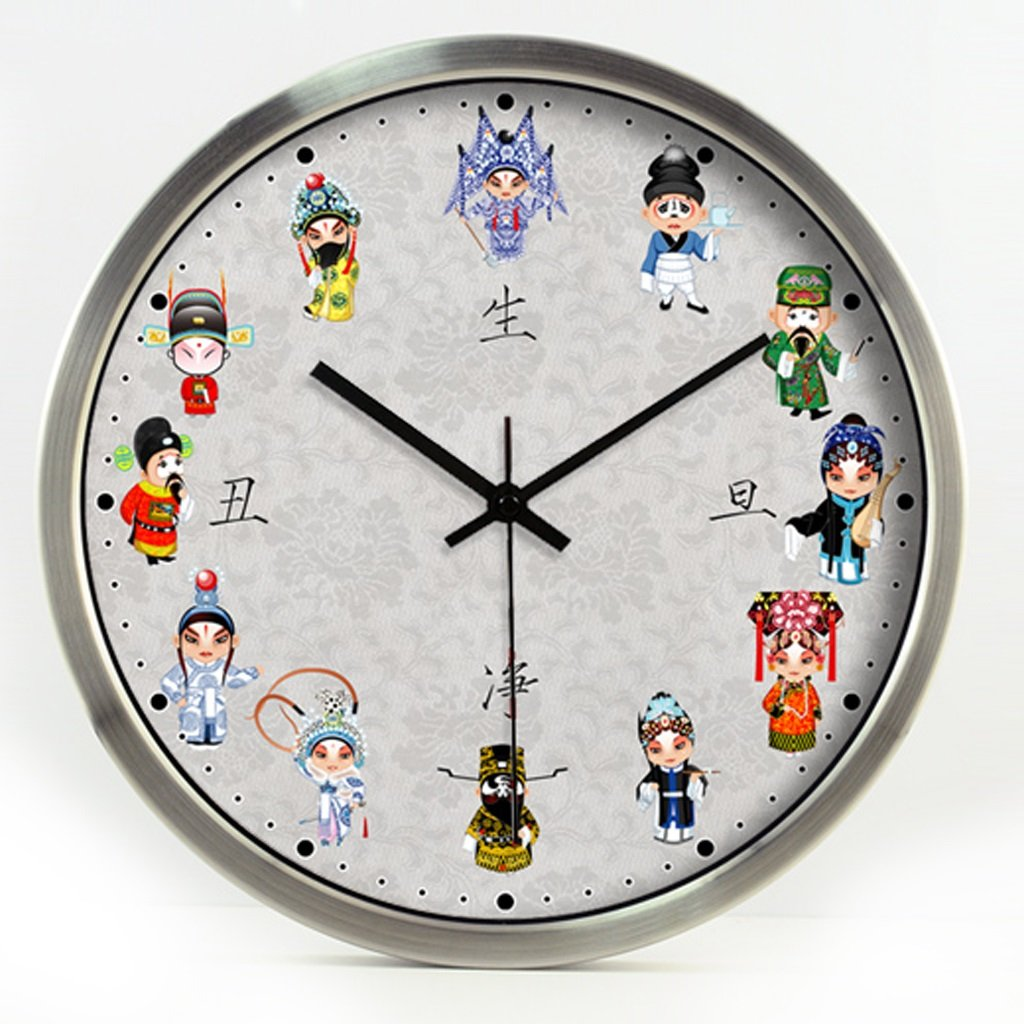 ウォールクロック 中国伝統芸術北京オペラクインテッセンスホテルデコレーションリビングルームFacebook Sheng Dan Net醜いミュートの壁時計 (色 : シルバー しるば゜, サイズ さいず : 12インチ) B07D7SCZW3 12インチ シルバー しるば゜ シルバー しるば゜ 12インチ