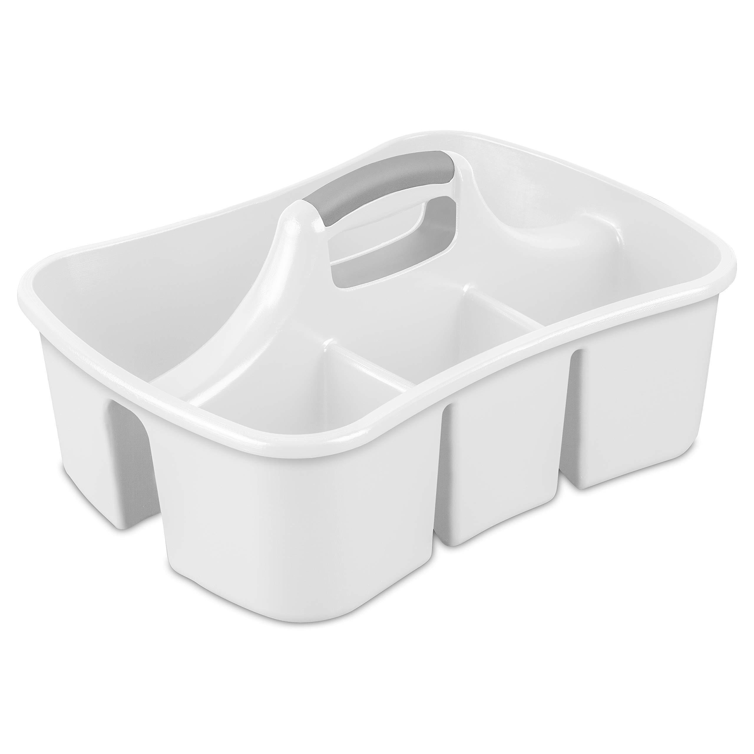 Sterilite 15888006 Divided Ultra Caddy, White Caddy w/ Titanium Insert, 6-Pack by STERILITE (Image #2)