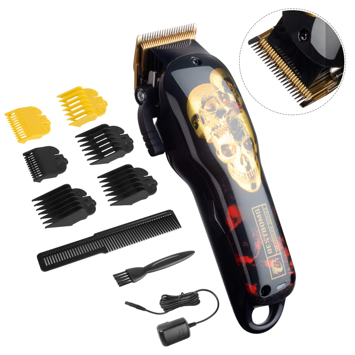 Cordless Hair Trimmer Professional Hair Clippers Beard Trimmer for Men Haircut Kit USB Rechargeable Barber Electric Shavers Hair Removal with 2000mAh Lithium Ion,6pcs Guide Combs by BESTBOMG