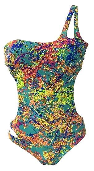 bc39e01a535 MISS BIKINI LUXE Costume da Bagno Fantasia Donna Intero Monospalla  Imbottitura Estraibile MOD 28413 Alpe: Amazon.it: Abbigliamento