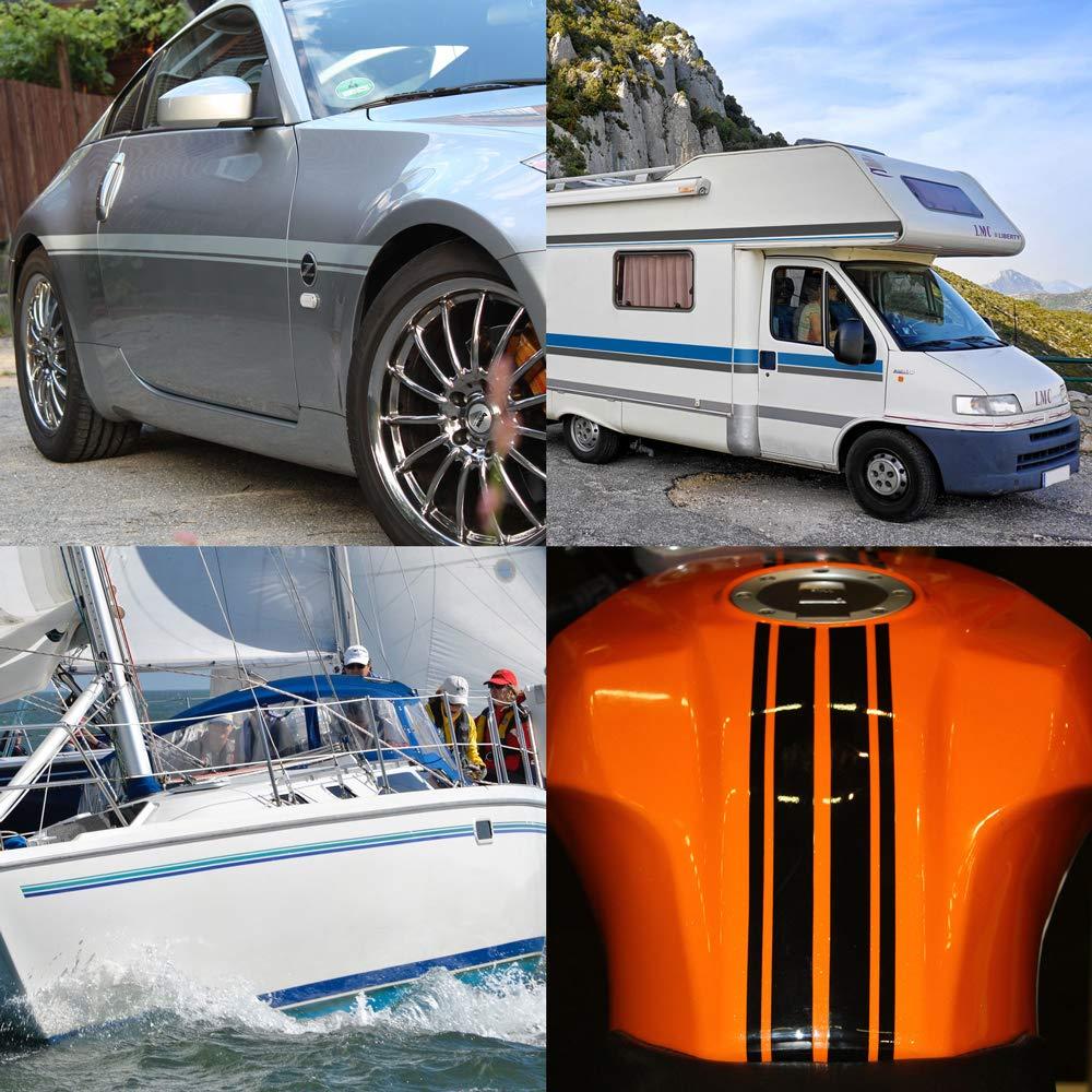 5 mm Larghezza RAL 9007 10 m Lunghezza Motoking Strisce Decorative Argento Lucido Adesivo Pellicola Foglio Auto Barca Moto Camper Autocaravan