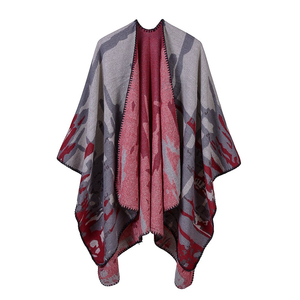 SherryDC Women's Retro Print Poncho Cape Shawl Fashion Cardigan Wrap Coat