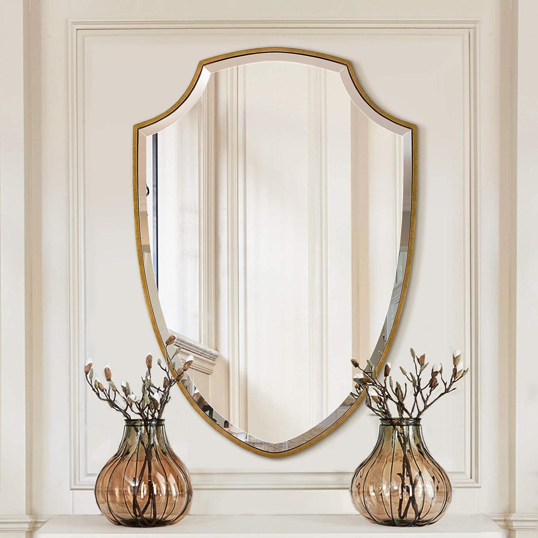 Large Wall Mirror Handmade Clear Mirrors Shield Shape 25 X 35 Amazon Co Uk Kitchen Home