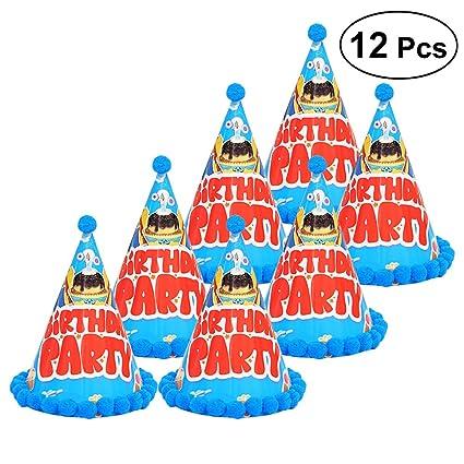 Sombreros de cono de fiesta de cumpleaños de 12 piezas con ...