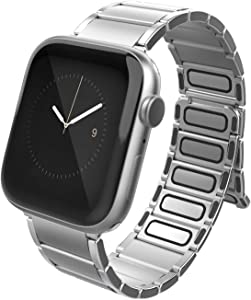 X-Doria Classic Band Apple Watch Replaceable Smartwatch Band, Compatible with Apple Watch 42mm and 44mm Apple Watch - for Apple Watch Series 1,2,3,4 and 5 (Silver)