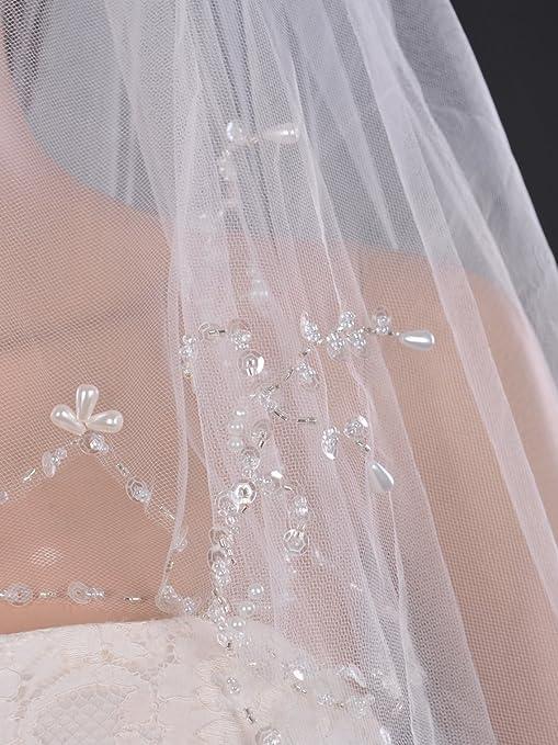 SWEETV 2 Tiers Sequin Pearl Trim Edge Wedding Veil Elbow Length Beaded Bridal Veil - Ivory -: Amazon.co.uk: Clothing