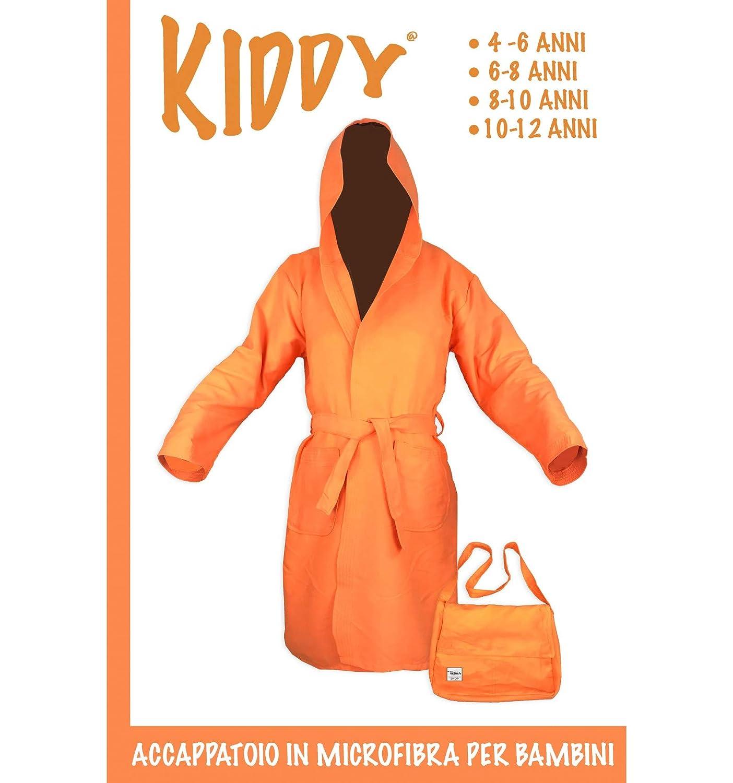 tex family Accappatoio Tecnico KIDDY Bimbo Bambino Ragazzo in Microfibra Arancio 10-12 Anni