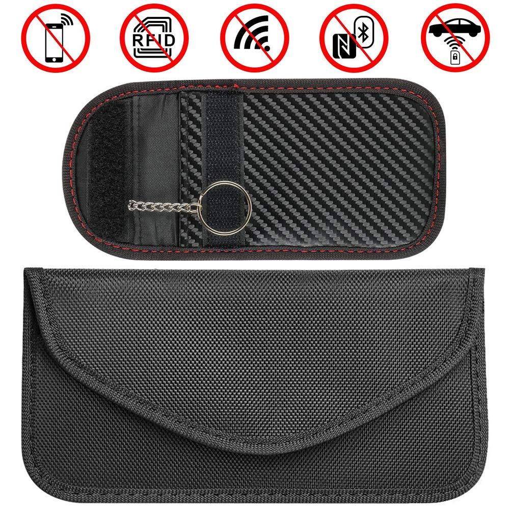 RFWIN Autoschlüssel-Signalblockier-Taschen, 2 Stück, RFID Faraday Taschen, Schlüssellose Schlüsselanhänger für Handy Kreditkarten Diebstahlschutz Geldbörse – Schwarze PU-Lederhülle, WLAN/NFC Blocker