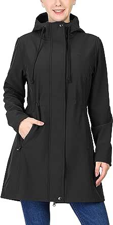 33,000ft Women's Softshell Long Jacket with Hood Fleece Lined Windproof Warm up Waterproof Windbreaker