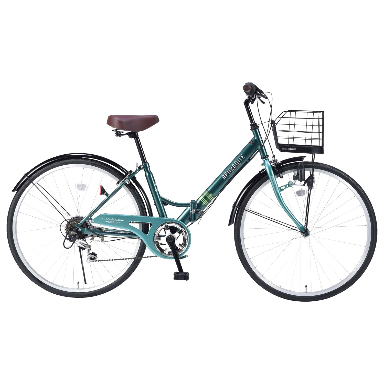 My Pallas(マイパラス) 折畳シティサイクル 26インチ 6段ギア V型フレーム&パンクしにくい自転車 M-507 B07BZPRGG1 グリーン グリーン