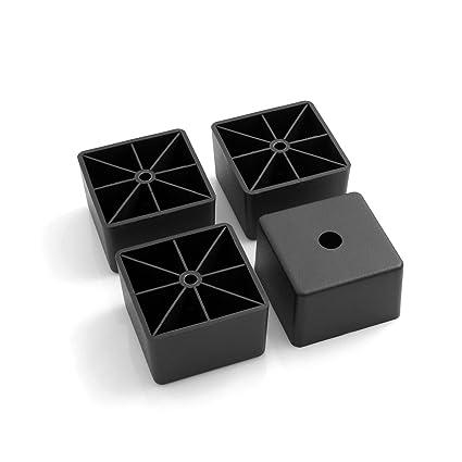 Design61 Juego de 4 Sofá patas de plástico para muebles muebles Posavasos sofá sillón para atornillar para muebles (plástico rectangular en negro