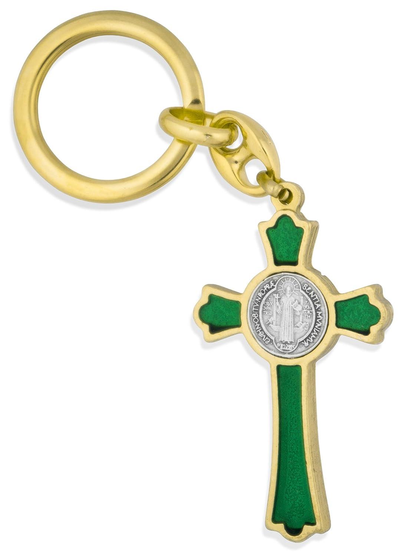 Gold with Blue Enamel Catholic Saint Benedict Key Chain with 2 Cross Fob Venerare