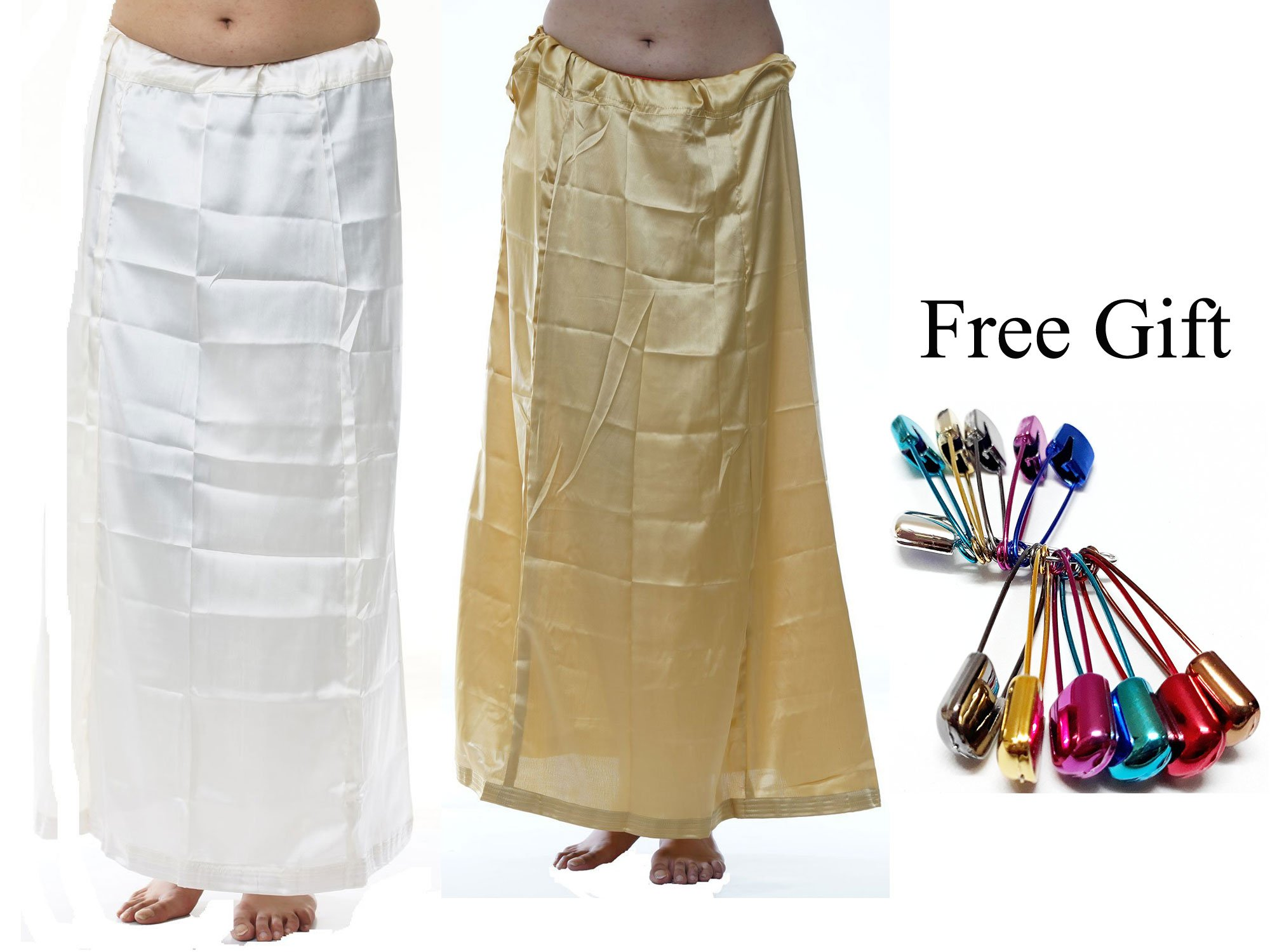 Odishabazaar Women Saree Petticoat Satin Silk Underskirt Lining For Sari(Pack Of 2) + Free Sari Pin (#189)