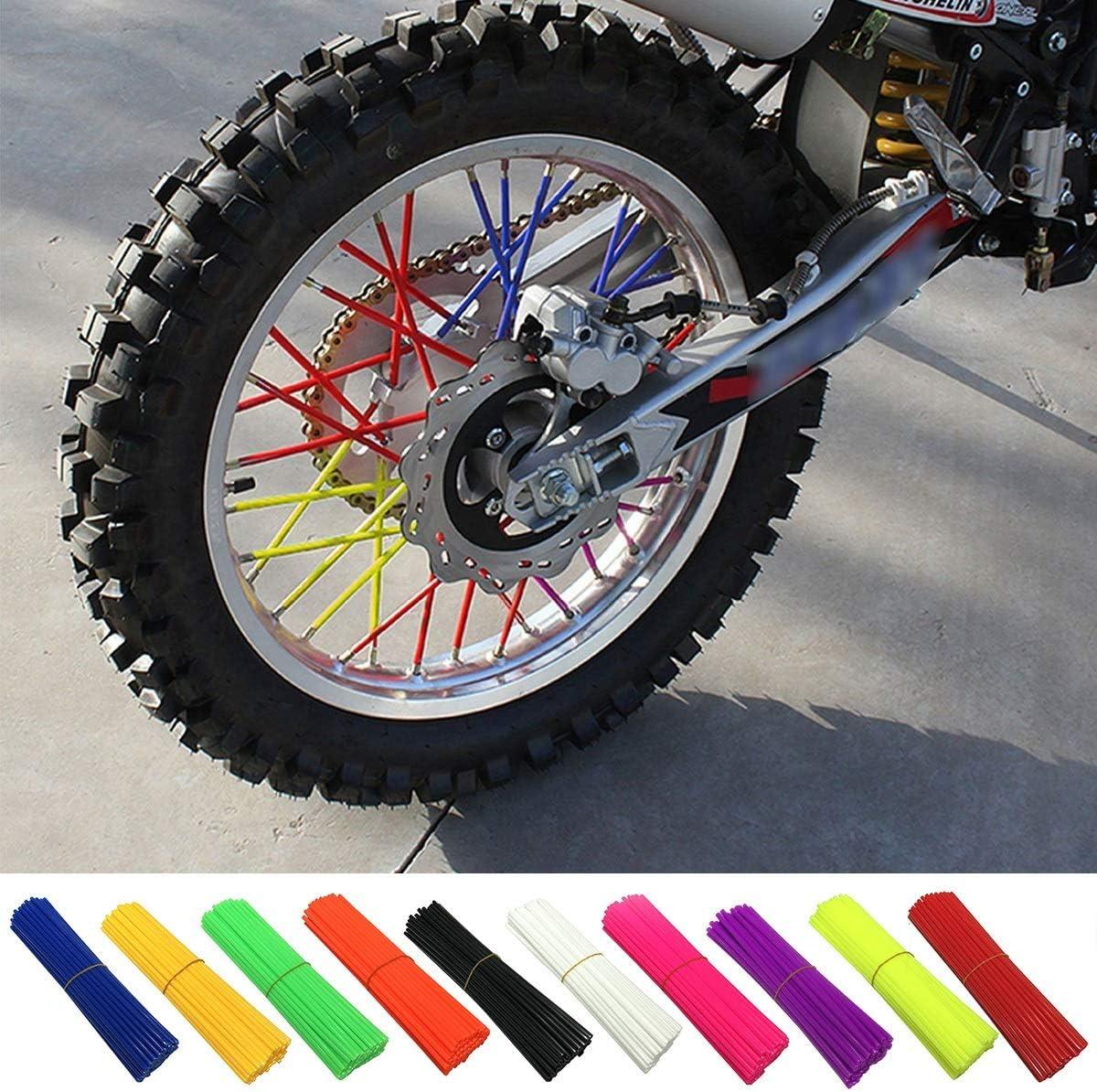 Wallfire Speichenhaut 72 Stücke Universal Bunte Speiche Skins Abdeckungen Für Motocross Dirt Bike Felgenschutzfolie Wraps Color Fluorescent Yellow Auto