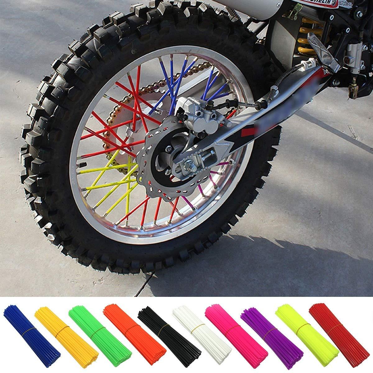 Spoke Skin, 72pcs Universal Colorful Spoke Skins Covers for Motocross Dirt Bike Wheel Rim Guard Protector Wraps (Color : Yellow) None
