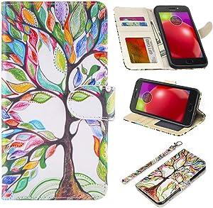 UrSpeedtekLive Moto E4 Case, Moto E4/Motorola E (4th Generation) Premium PU Leather Wristlet Flip Wallet Case Cover with Card Slots & Stand-Love Tree