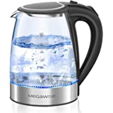 MEGAWISE 1500W Electric Kettle , 1.8L Borosilicate Glass Tea Kettle with LED Light, Auto Shut-Off and Boil-Dry Protection Cor