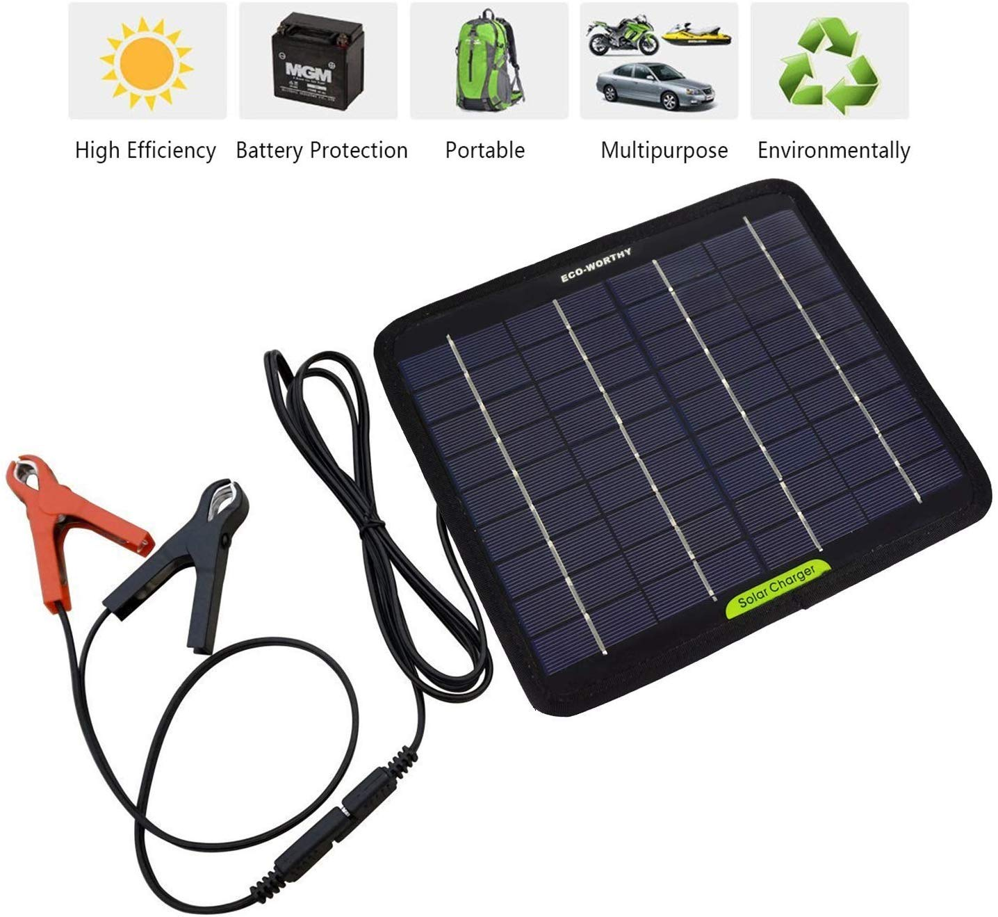 ECOWORTHY 7W 12V Portable Solar Panel Battery Trickle Charge with Battery Clip for Power Car van Caravan Boats