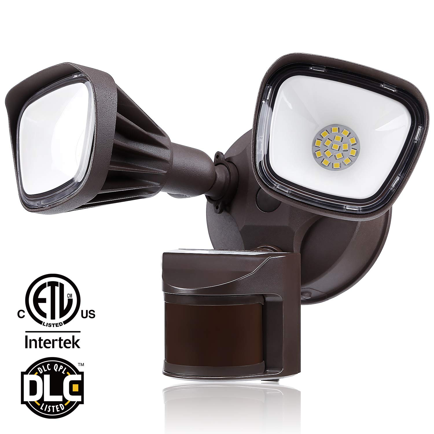 LEONLITE 25W Dual-Head Motion-Activated LED Outdoor Security Light, 150W Equiv. Waterproof Area Lighting, Photocell Included, DIM Mode Available, 3000K Warm White, for Yard, Garage, Porch, Bronze