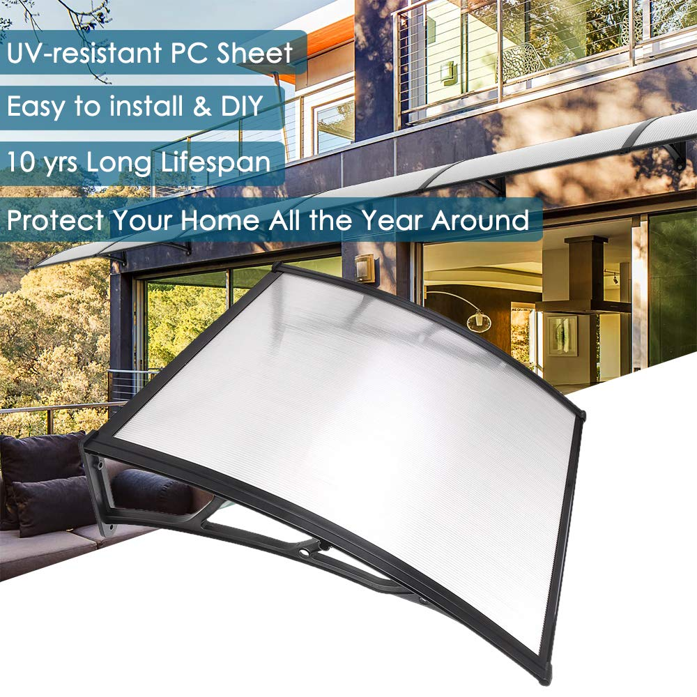 "Yescom 39""x 39"" Door Window Outdoor Awning Patio Cover UV Rain Snow Protection One-Piece Polycarbonate Hollow Sheet"