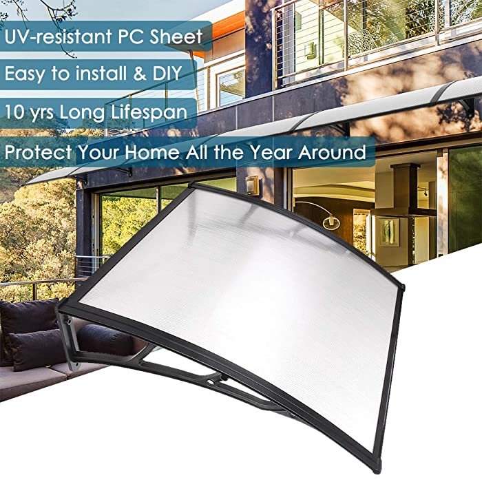 """Yescom 39""""x 39"""" Door Window Outdoor Awning Patio Cover UV Rain Snow Protection One-Piece Polycarbonate Hollow Sheet"""