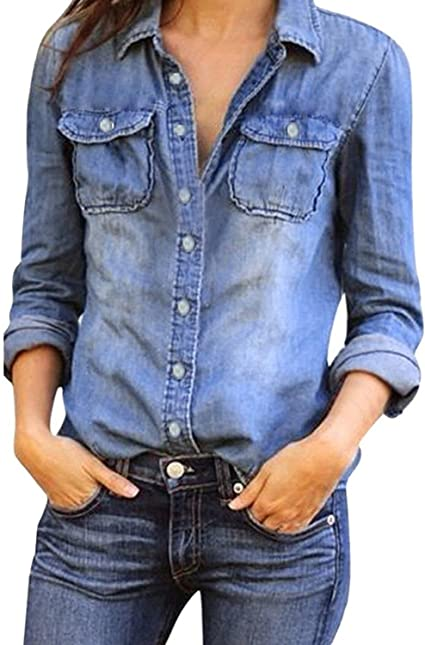 Mujeres Manga Larga Camisas Vaquero - Fashion Primavera Otoño Camisa de Jean con Botones Color Sólido Slim Blusa Boyfriend Casual Camisetas Tops Tallas Grandes: Amazon.es: Ropa y accesorios
