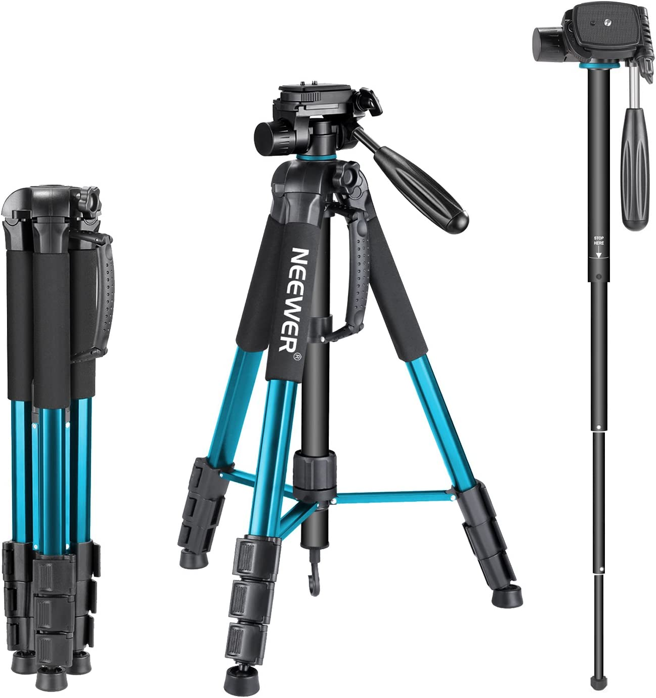 Neewer Portable 70 inches/177 centimeters Aluminum Alloy Camera Tripod Monopod with 3-Way Swivel Pan Head, Bag for DSLR Camera, DV Video Camcorder, Load up to 8.8 pounds/4 kilograms Blue(SAB264) : Camera & Photo