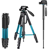 Neewer Portable 70 inches/177 centimeters Aluminum Alloy Camera Tripod Monopod with 3-Way Swivel Pan Head,Bag for DSLR Camera