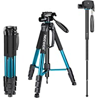 Neewer Portable 70 inches/177 Centimeters Aluminum Alloy Camera Tripod Monopod with 3-Way Swivel Pan Head,Bag for DSLR…