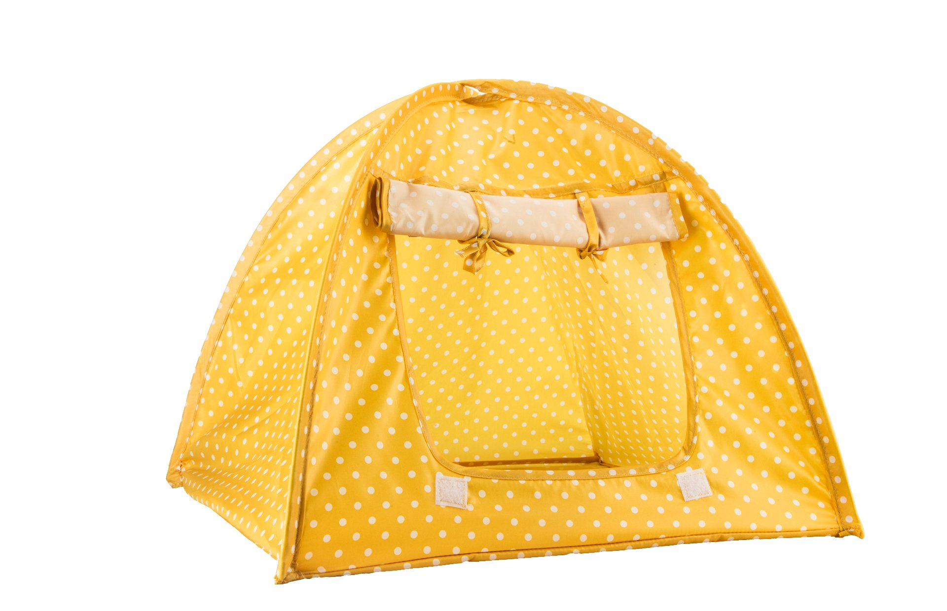 Viiler Pet Supplies Washable Durable Cute Dots Style Pet House Tent for Small Size Dogs and Cats Green/Pink/Yellow Colors /16.9''16.9''16.1'' (Yellow)