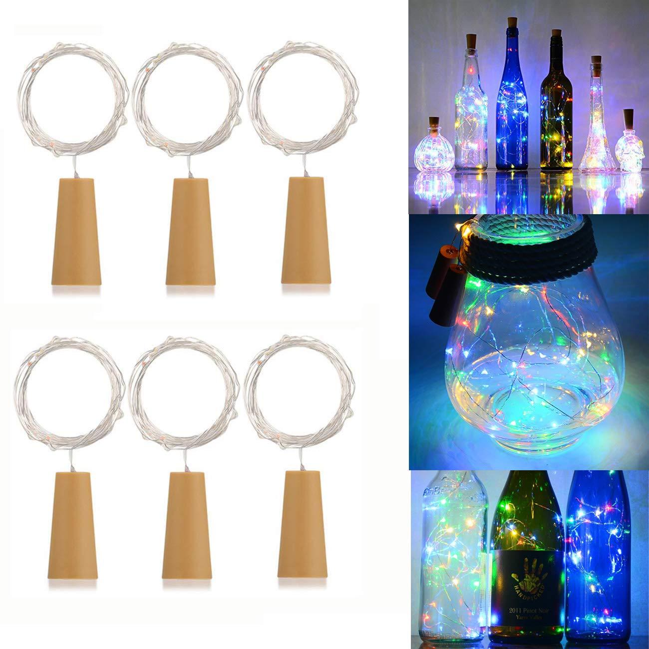 Catena luminosa con 20luci a LED, batterie scomparto in sughero forma, filo di rame, per la decorazione di bottiglie, per Natale, matrimonio, festa, luci colorate, 6pezzi ATP