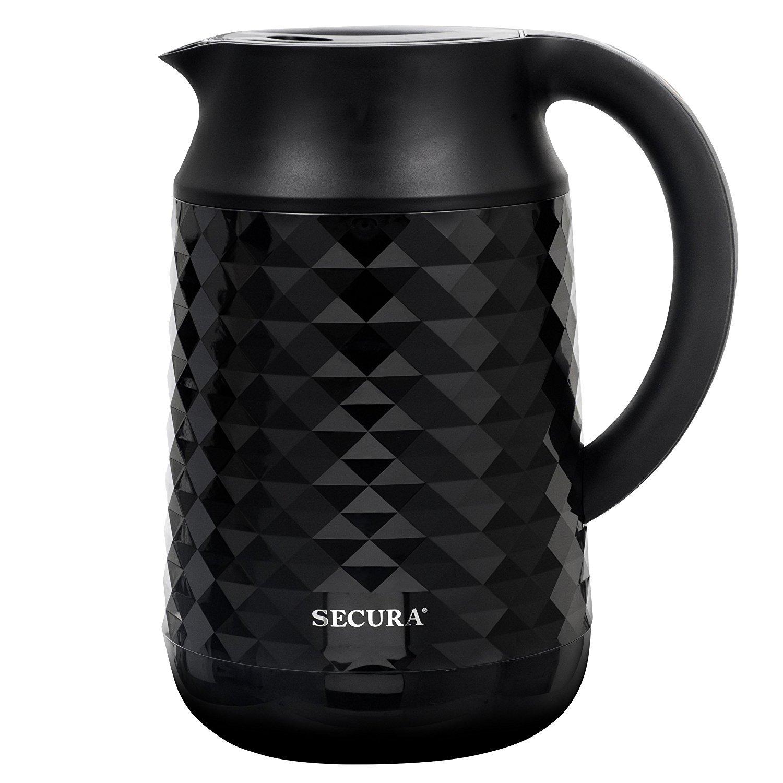 Secura Cool Touch Precise Temperature Control 1.8Qt (7 Cups) Electric Water Kettle (Black) | 1500W Strix Controls | Float Valve Technology | Quick Boil | 8 Pre-sets (Black)