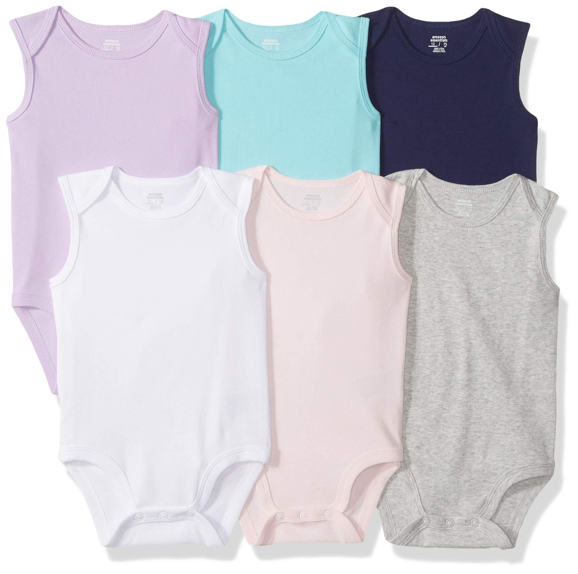 Essentials Baby Girls 6-Pack Sleeveless Bodysuits