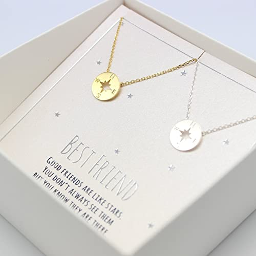 86372dddf4731 Amazon.com: compass necklace, Best friend necklace for 2, BFF ...