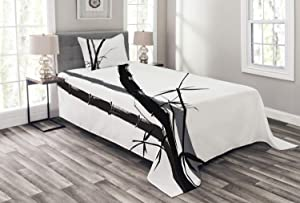 Ambesonne Exotic Bedspread, Feng Shui Watercolor Japanese Ink Art Boho Bamboo Branches, Decorative Quilted 2 Piece Coverlet Set with Pillow Sham, Twin Size, Charcoal