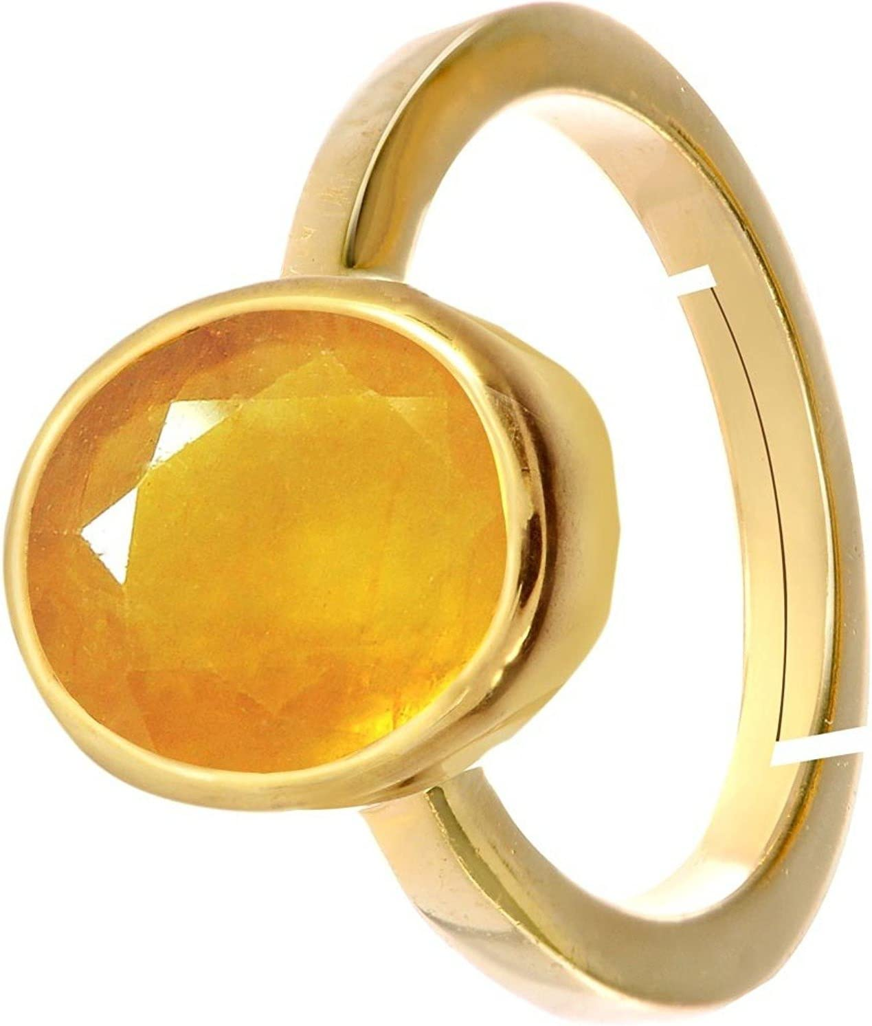 Yellow Sapphire//Pukhraj 8.4cts or 9.25ratti Stone Panchdhatu Adjustable Ring for Men