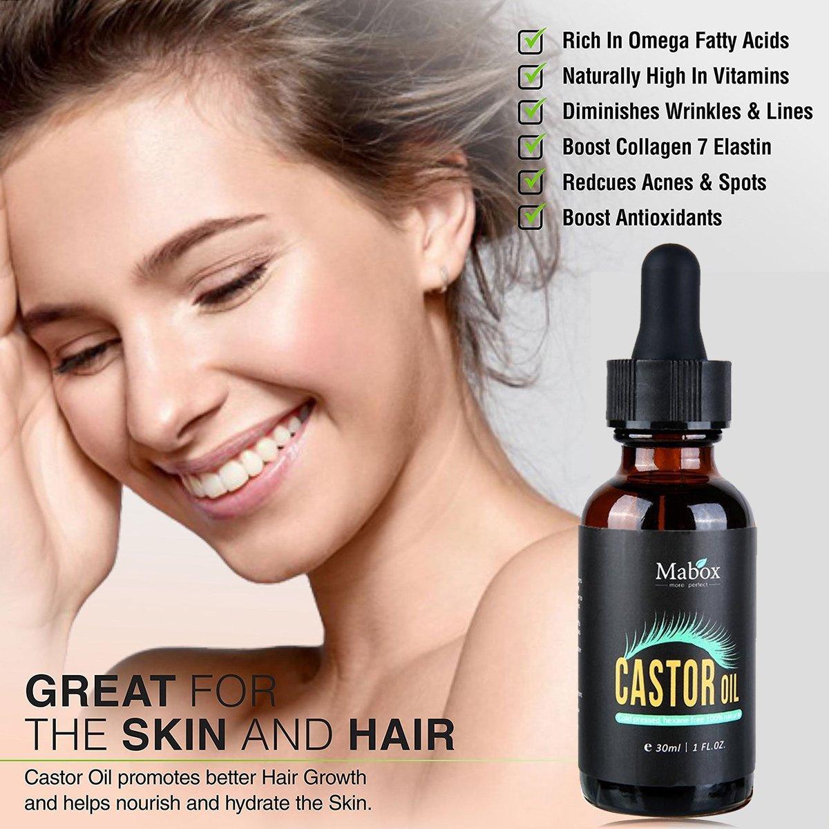Aceite de ricino orgánico natural, pestañas y crema de cejas, mejora el crecimiento para pestañas, pelo, cejas con 5 juegos de brochas de pestañas y cejas, ...