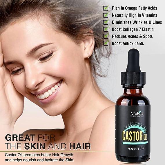 Aceite de ricino orgánico, suero de crecimiento de pestañas y cejas, aumenta el crecimiento para pestañas, cabello, cejas con 5 juegos de pinceles de ...