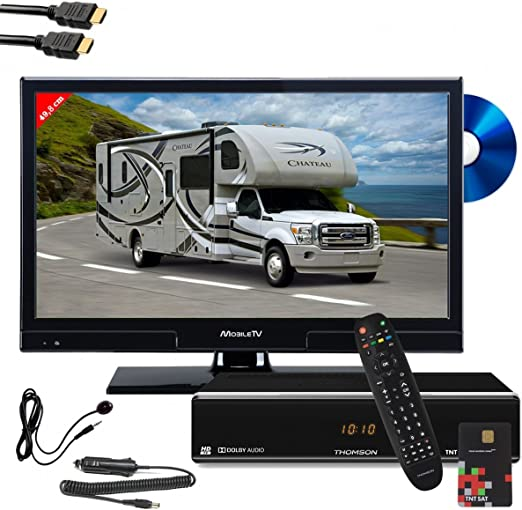 THOMSON Pack Mobile TV televisor LED HD 19,6 Reproductor DVD Integrado ths804 Receptor Satellite TNTSAT + déport IR: Amazon.es: Electrónica