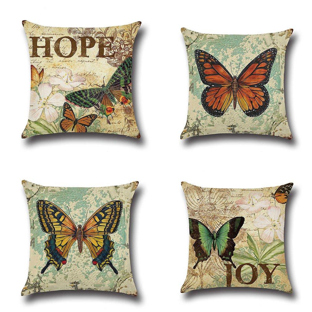 Amazon.com: MFGNEH - Funda de almohada de algodón y lino con ...
